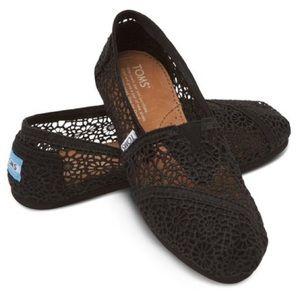 TOMS Classic Black Crochet Women's Slip On Shoes